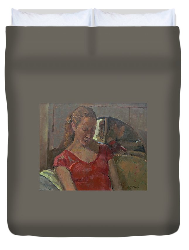 Female Duvet Cover featuring the photograph By The Old Mirror, 2009 Oil On Canvas by Pat Maclaurin