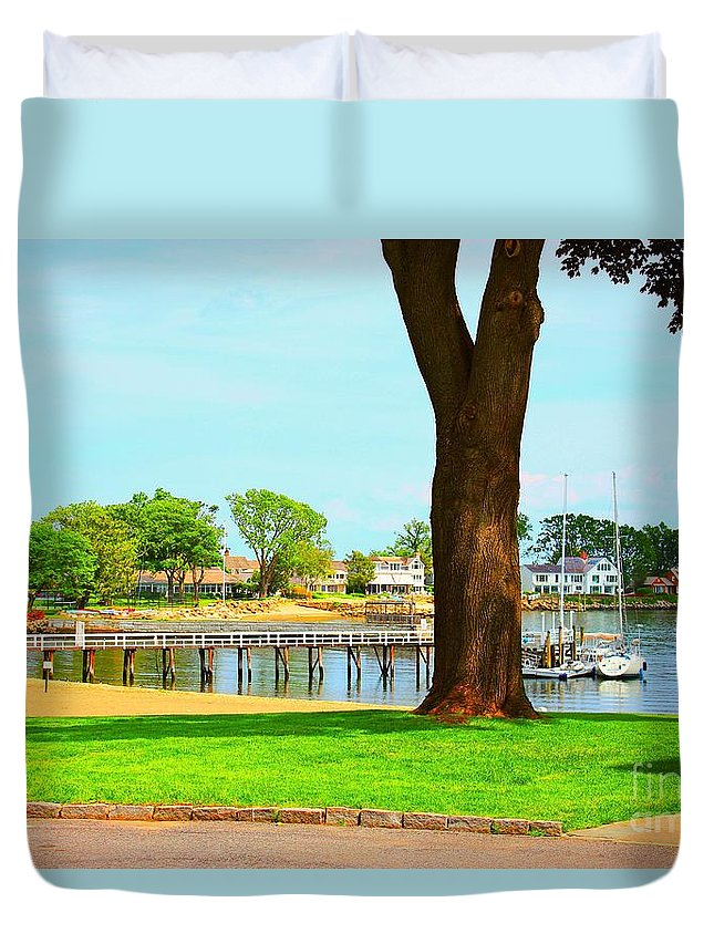Water Duvet Cover featuring the photograph By The Sea by Judy Palkimas