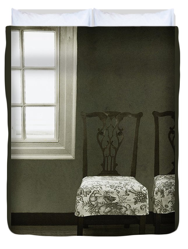 Chairs Duvet Cover featuring the photograph By The Window by Margie Hurwich