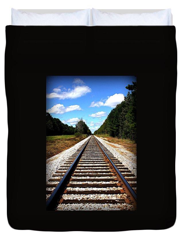 Reid Callaway Railroad Duvet Cover featuring the photograph Never Ending Tracks by Reid Callaway