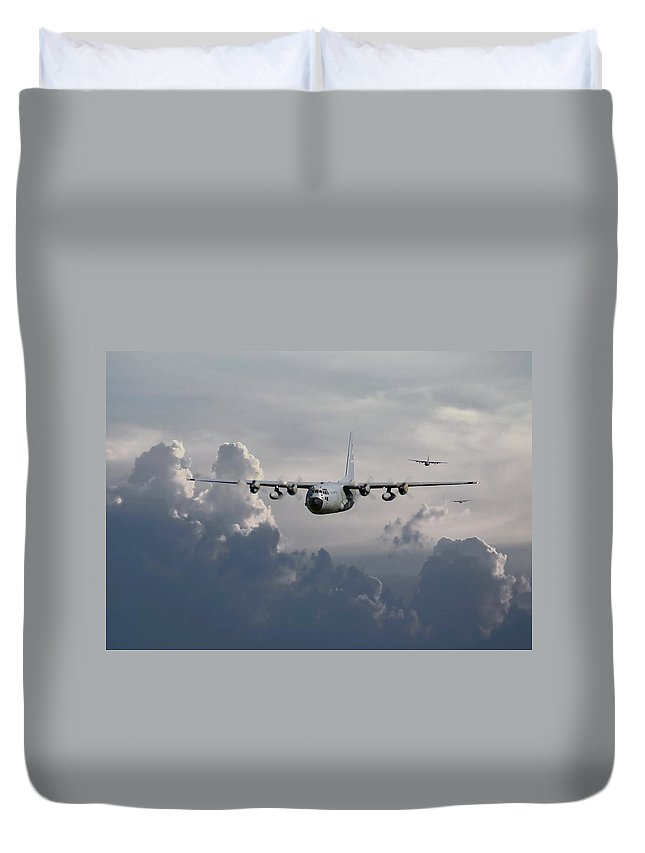 Aircraft Duvet Cover featuring the digital art C130 Hecules  In Trail by Pat Speirs