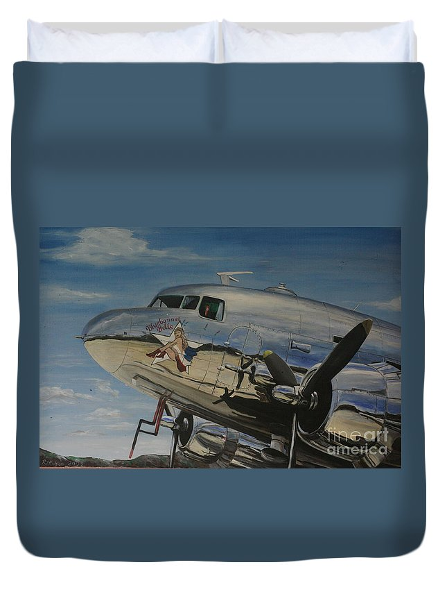 Warbirds Duvet Cover featuring the painting C47b Skytrain Bluebonnet Belle Warbird 1944 by Richard John Holden RA