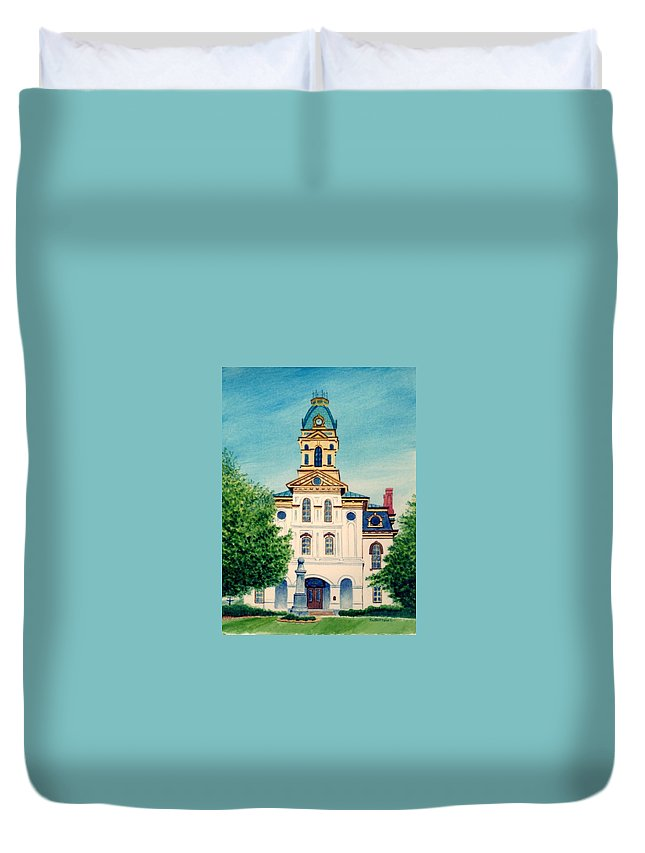 Cabarrus County Duvet Cover featuring the painting Cabarrus County Courthouse by Stacy C Bottoms