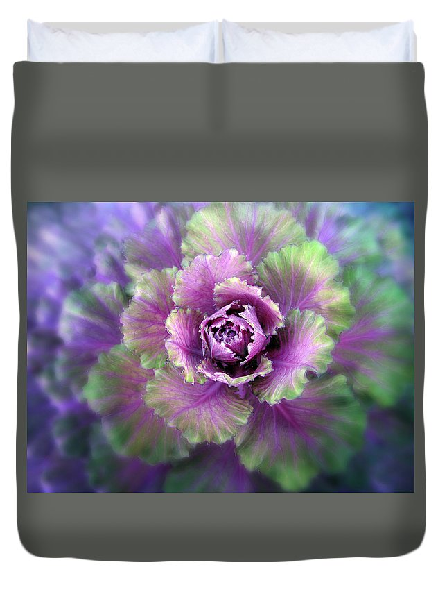 Detail Duvet Cover featuring the photograph Cabbage Flower by Jessica Jenney