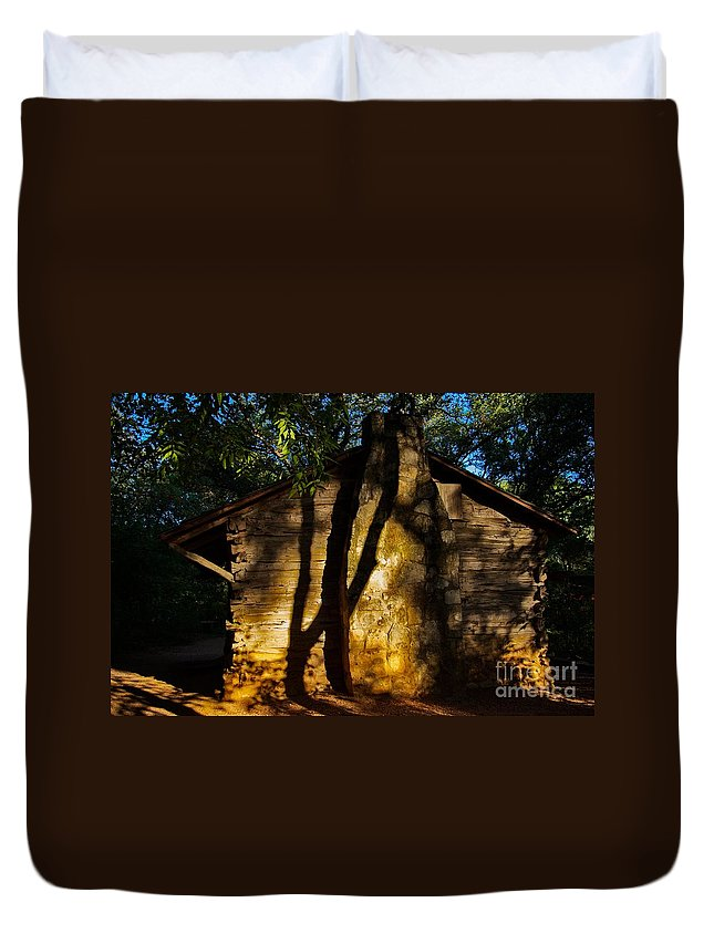 Cabin Duvet Cover featuring the photograph Cabin Shadows by Gary Richards