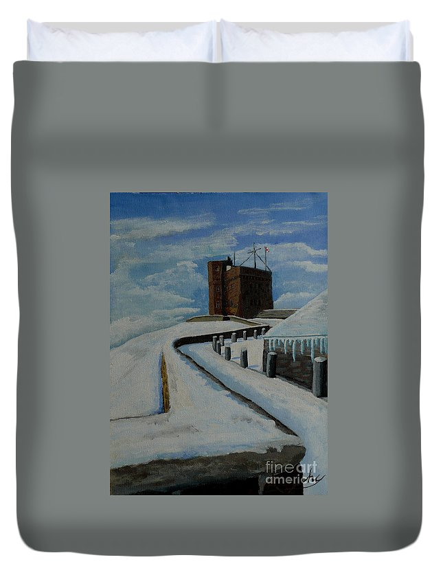 Landscape Duvet Cover featuring the painting Cabot Tower Newfoundland by Anthony Dunphy