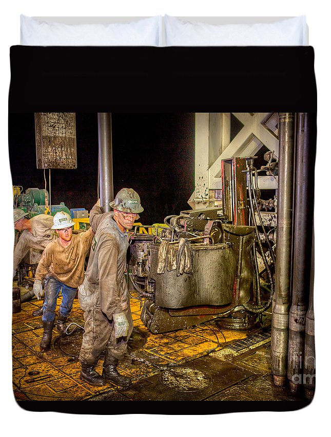 Oil Rig Duvet Cover featuring the photograph Cac003-24 by Cooper Ross