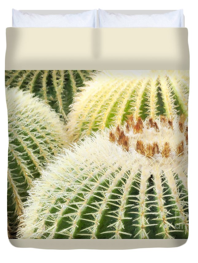 Floral Duvet Cover featuring the photograph Cacti by Julie Woodhouse