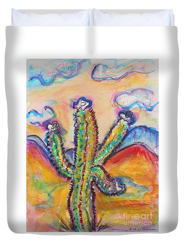 Cactus Duvet Cover featuring the painting Cactus And Clouds by M c Sturman