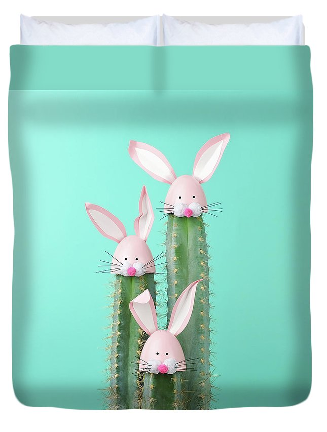 Easter Bunny Duvet Cover featuring the photograph Cactus With Easter Rabbit Decorations by Juj Winn