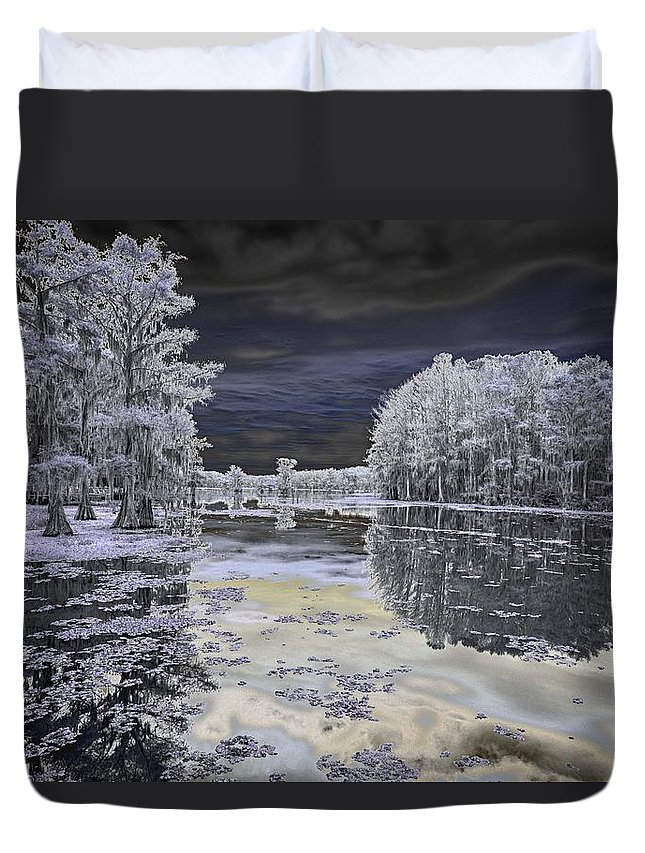 Infrared Duvet Cover featuring the photograph Caddo Lake II by John Hesley