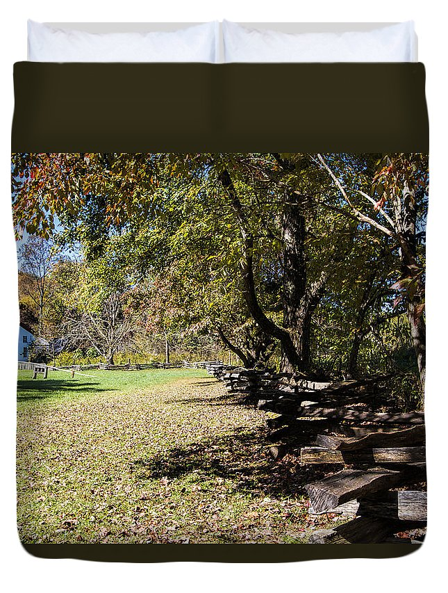 Cades Cove Duvet Cover featuring the photograph Cades Cove House And Split Rail Fence by Kathy Clark