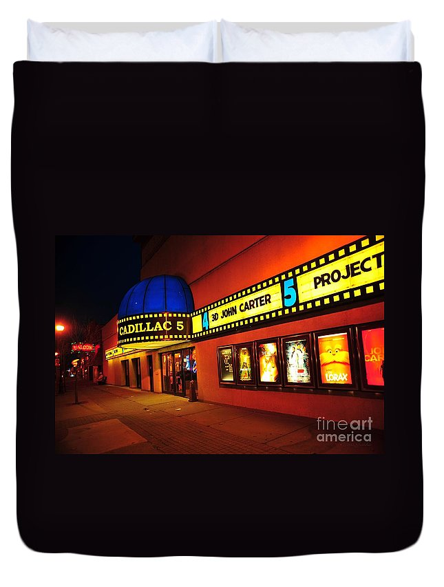 Cadillac 5 Movie Theater In Cadillac Michigan Duvet Cover for Sale