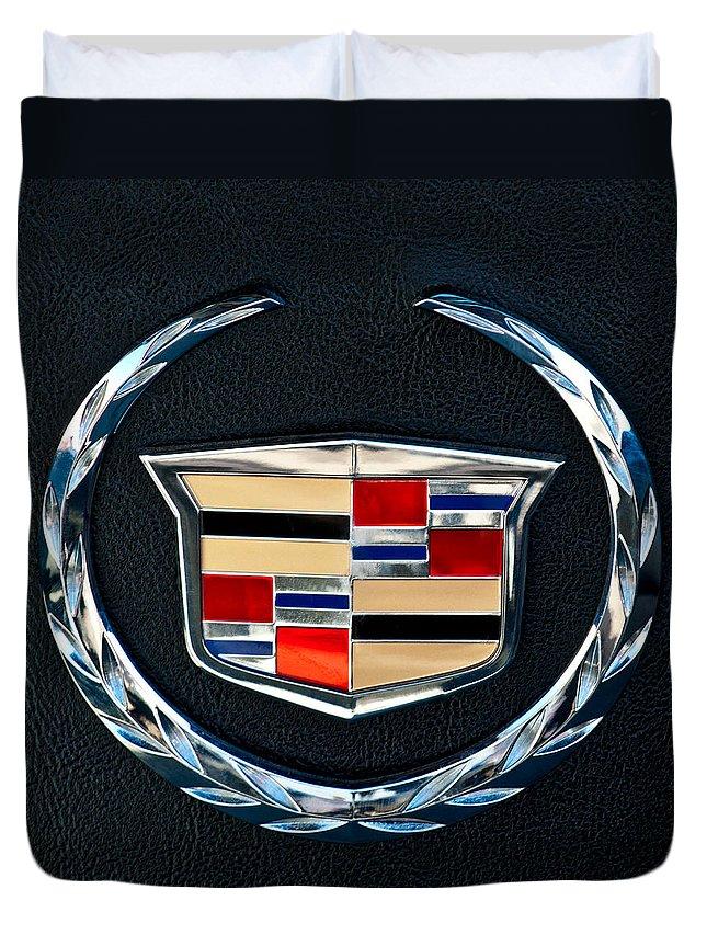 Cadillac Emblem Duvet Cover featuring the photograph Cadillac Emblem by Jill Reger