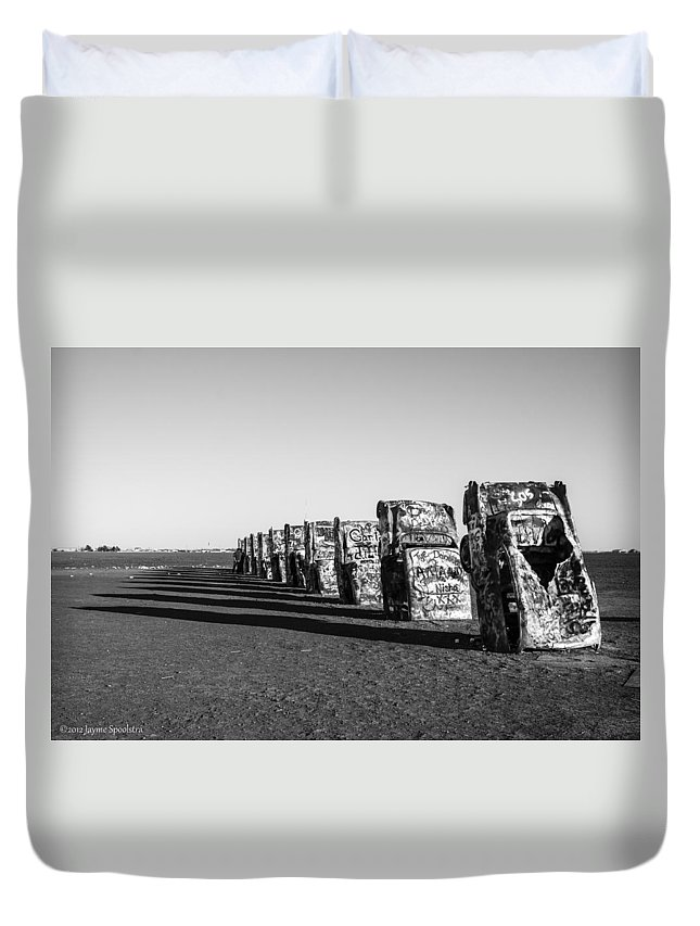 Cadillac Duvet Cover featuring the photograph Cadillac Ranch by Jayme Spoolstra