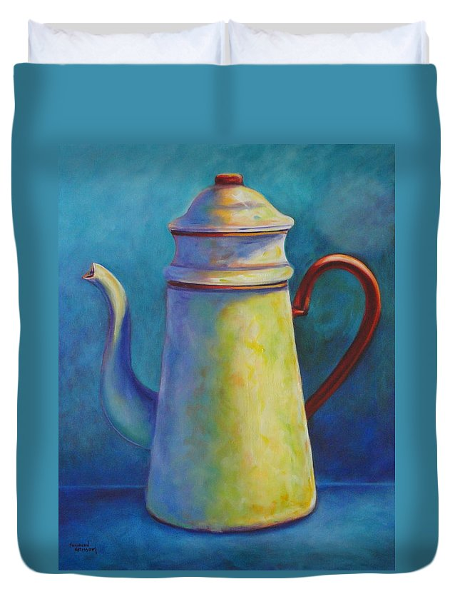 Coffee Duvet Cover featuring the painting Cafe au Lait by Shannon Grissom
