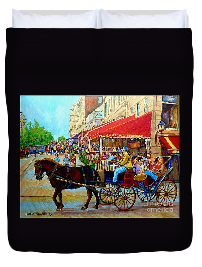 Cafe La Grande Terrasse Duvet Cover featuring the painting Cafe La Grande Terrasse by Carole Spandau