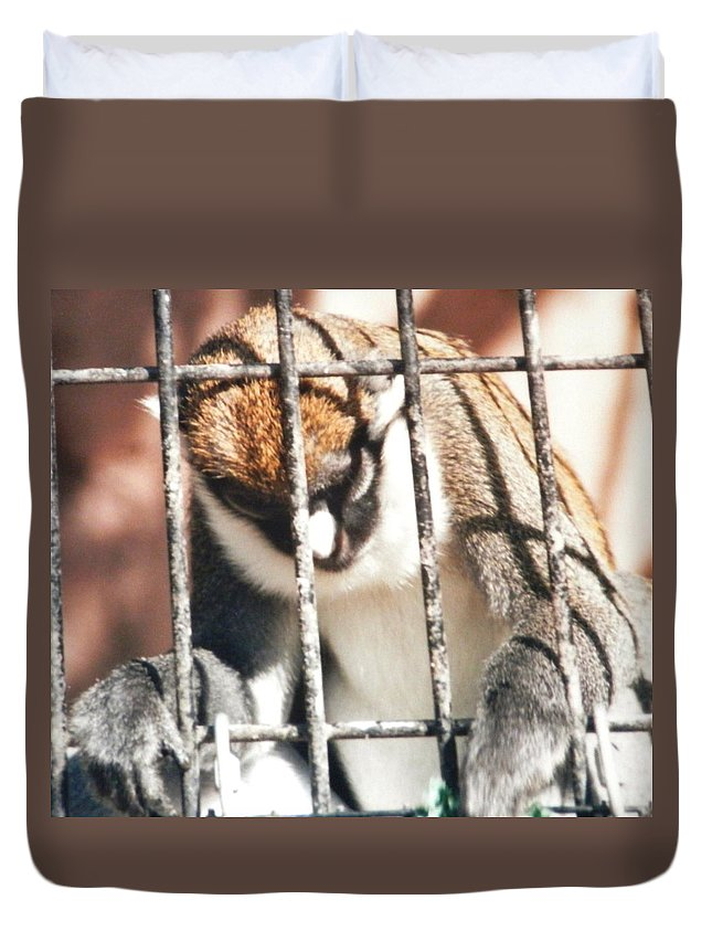 Caged Monkey With His Head Bent Down In Prayer ...holding On To The Bars Duvet Cover featuring the photograph Caged But Strong by Belinda Lee