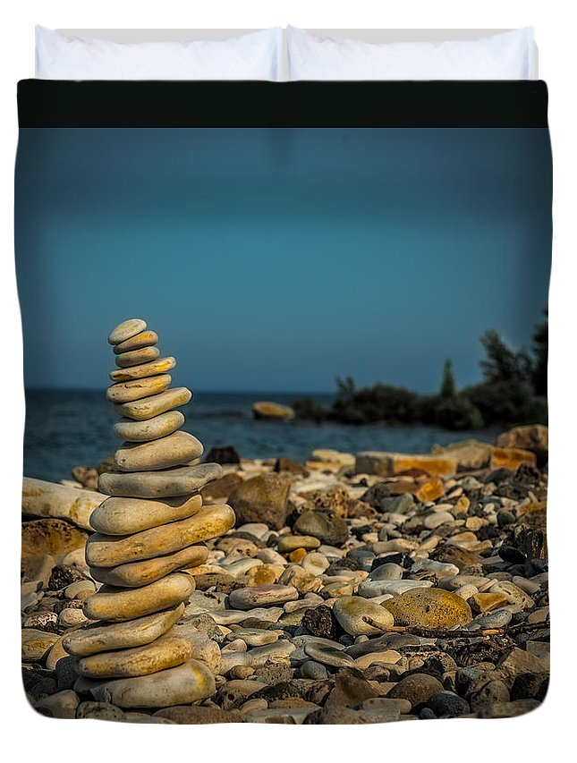 Cairn Duvet Cover featuring the photograph Cairn On Lake Michigan by Paul Freidlund