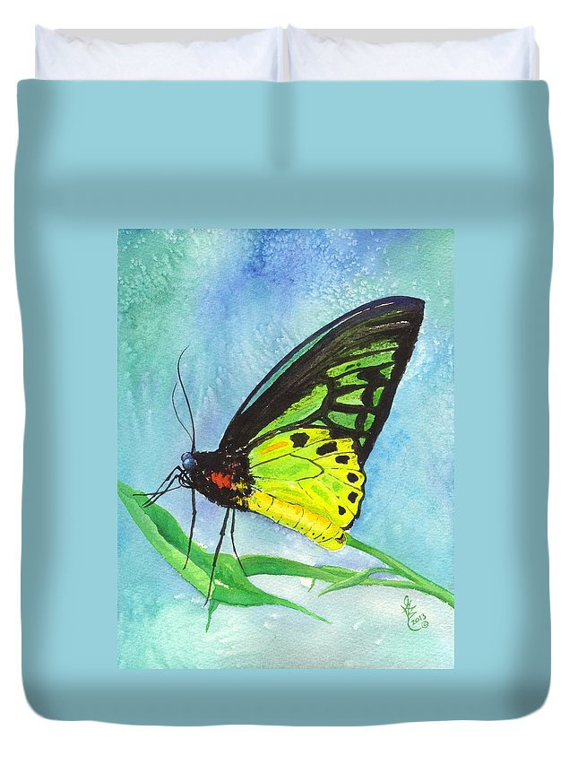 Australia Duvet Cover featuring the painting Cairns Birdwing by Gale Cochran-Smith