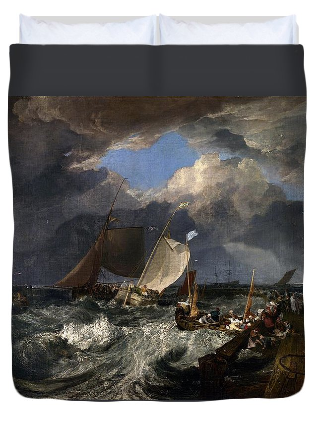 1803 Duvet Cover featuring the painting Calais Pier by JMW Turner