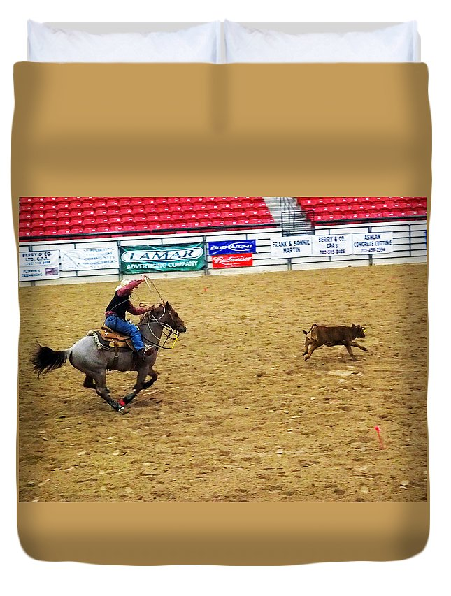 Cowboy Duvet Cover featuring the photograph Calf Roping by C H Apperson