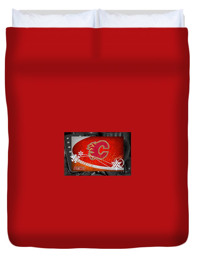Flames Duvet Cover featuring the photograph Calgary Flames Christmas by Joe Hamilton