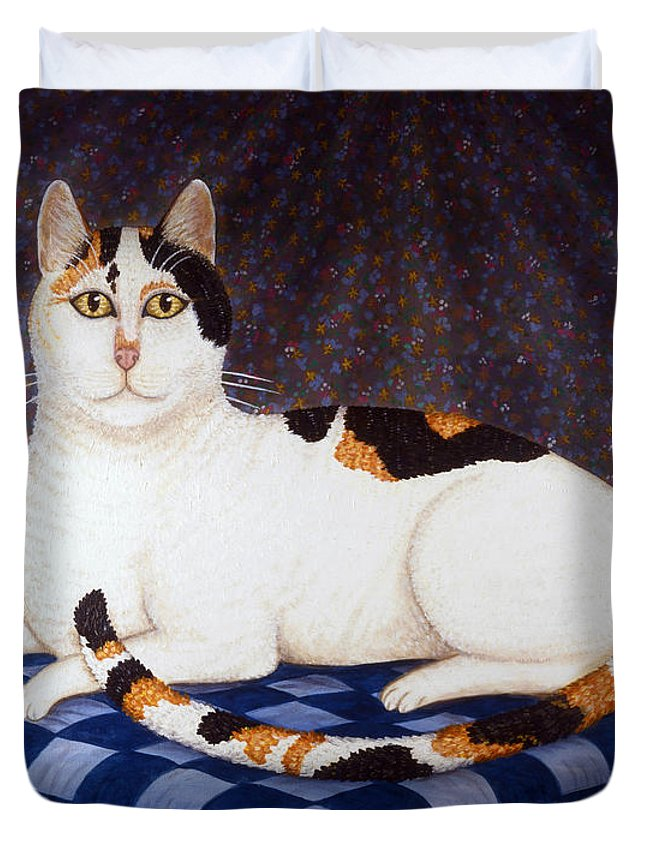 Cat Duvet Cover featuring the painting Calico Cat Portrait by Linda Mears