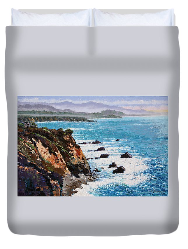 Ocean Duvet Cover featuring the painting California Coastline by John Lautermilch