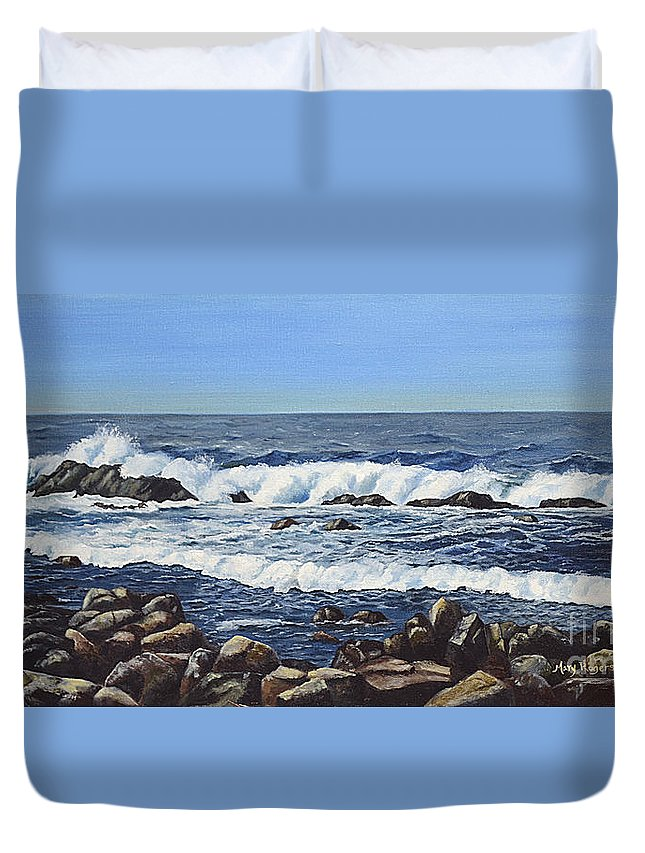 Art Duvet Cover featuring the painting California Coastline by Mary Rogers