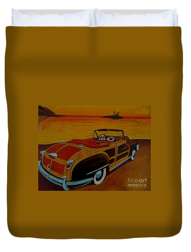 Beach Duvet Cover featuring the painting California Gold by Anthony Dunphy