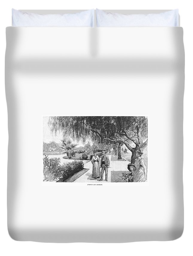 1890 Duvet Cover featuring the painting California Los Angeles by Granger