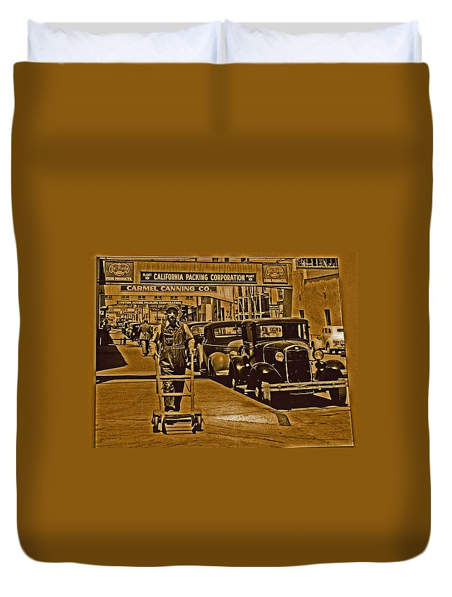 Monterey Duvet Cover featuring the digital art California Packing Corporation by Joseph Coulombe
