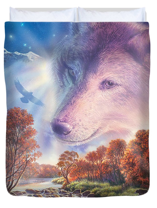 Animals Duvet Cover featuring the photograph Calling To The Pack by Steve Crisp