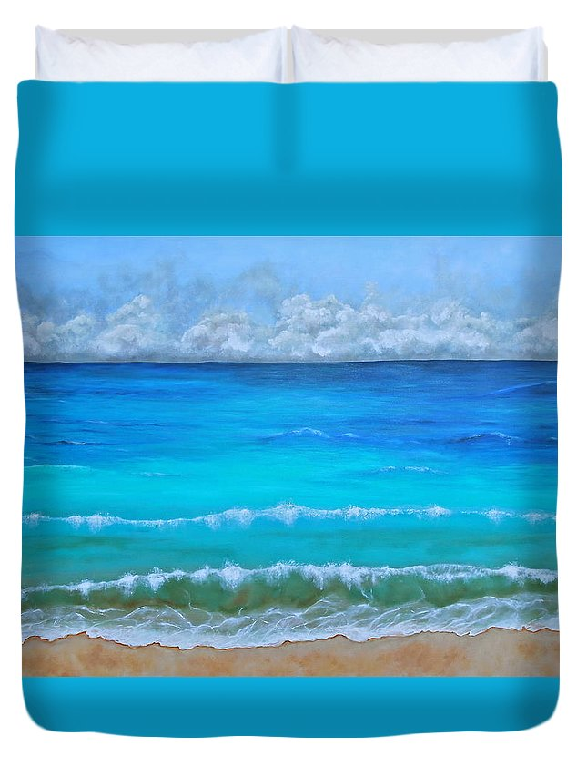 Seascape Painting Duvet Cover featuring the painting Calm by Nancy Quiaoit