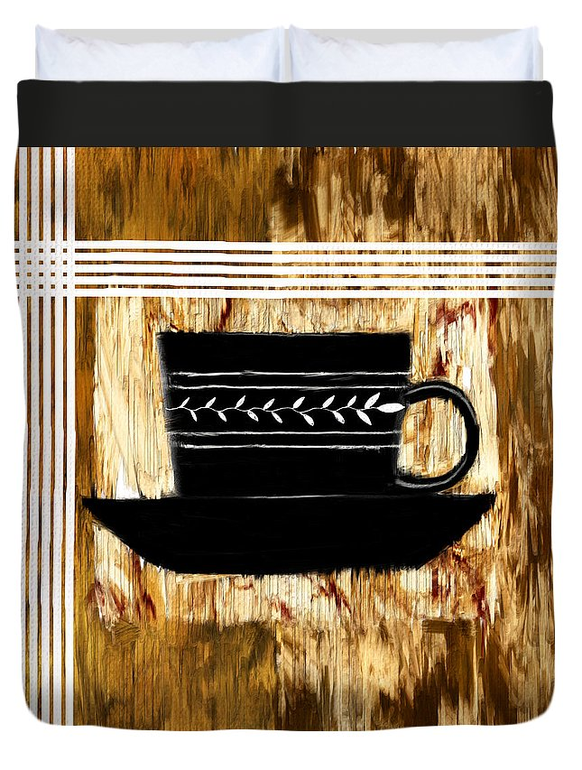 Coffee Duvet Cover featuring the digital art Calming Choice by Lourry Legarde