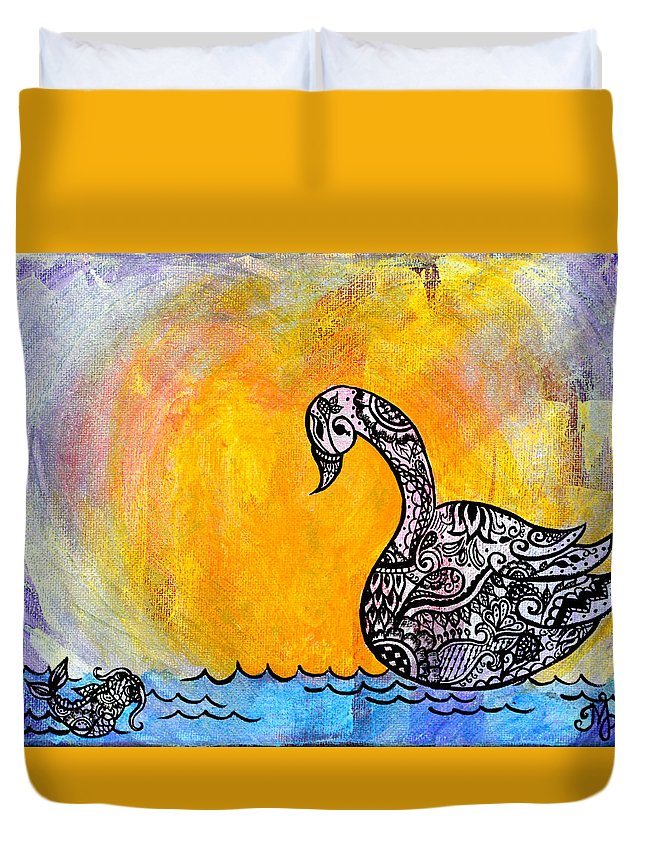 Henna Duvet Cover featuring the painting Calming Waters by Meganne Peck