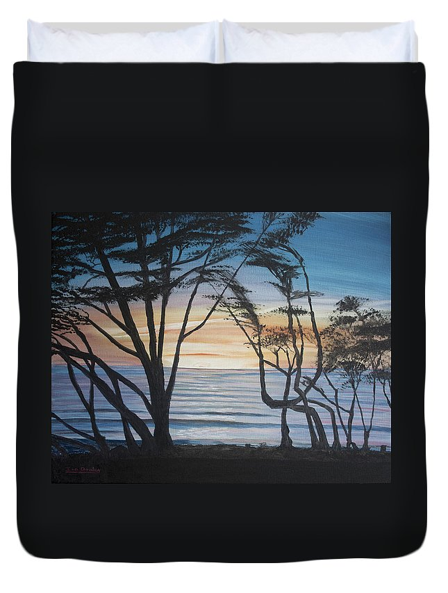 Blue Duvet Cover featuring the painting Cambria Cypress Trees At Sunset by Ian Donley