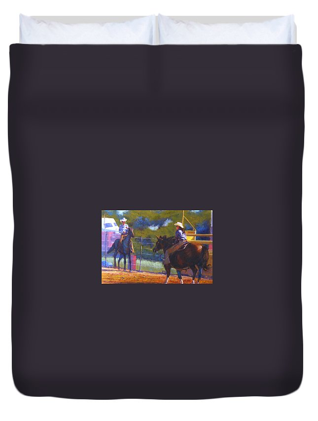 Cowboys Duvet Cover featuring the painting Camden Cowboy And Cowgirl by Diane Quee