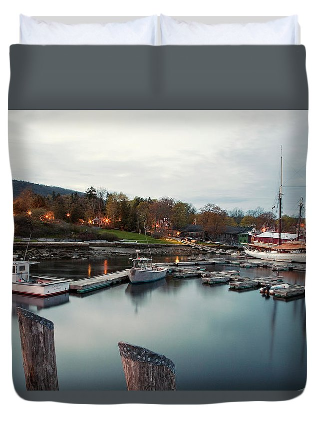 Camden Duvet Cover featuring the photograph Camden Harbor, Maine At Twighlight by Chris Bennett