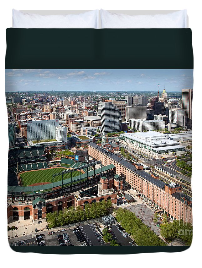 Baltimore Duvet Cover featuring the photograph Camden Yards by Bill Cobb