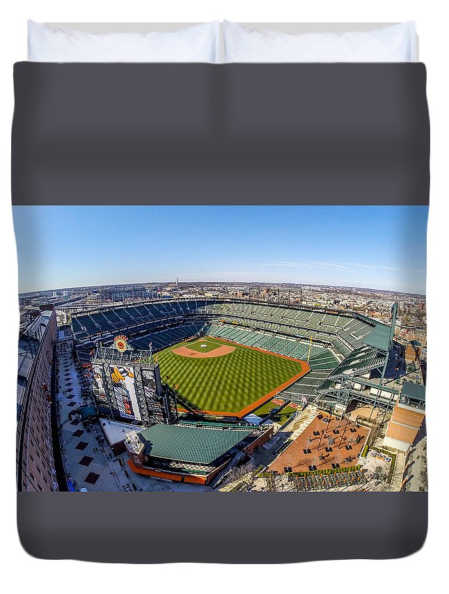 Camden Yard Duvet Cover featuring the photograph Camden Yards-the Birds Nest by Mid Atlantic Aerial