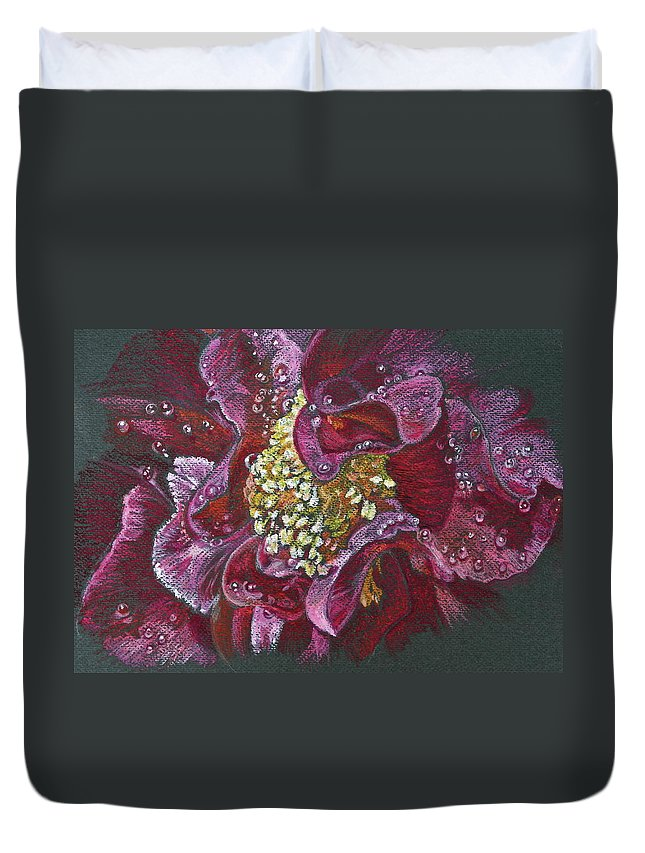 Camellia Duvet Cover featuring the pastel Camellia Rain by Michele Myers