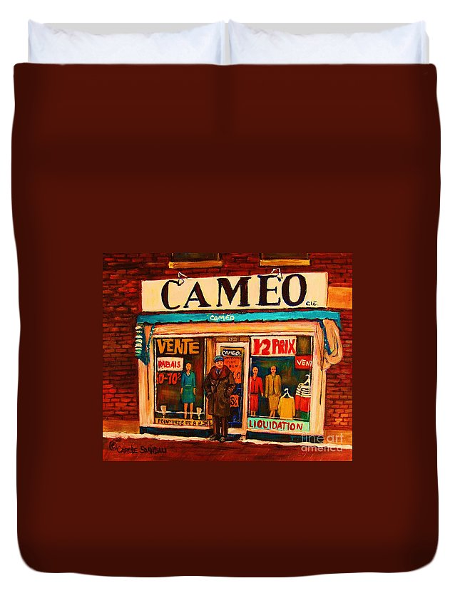 Cameo Dress Shop Duvet Cover featuring the painting Cameo Dress Shop by Carole Spandau