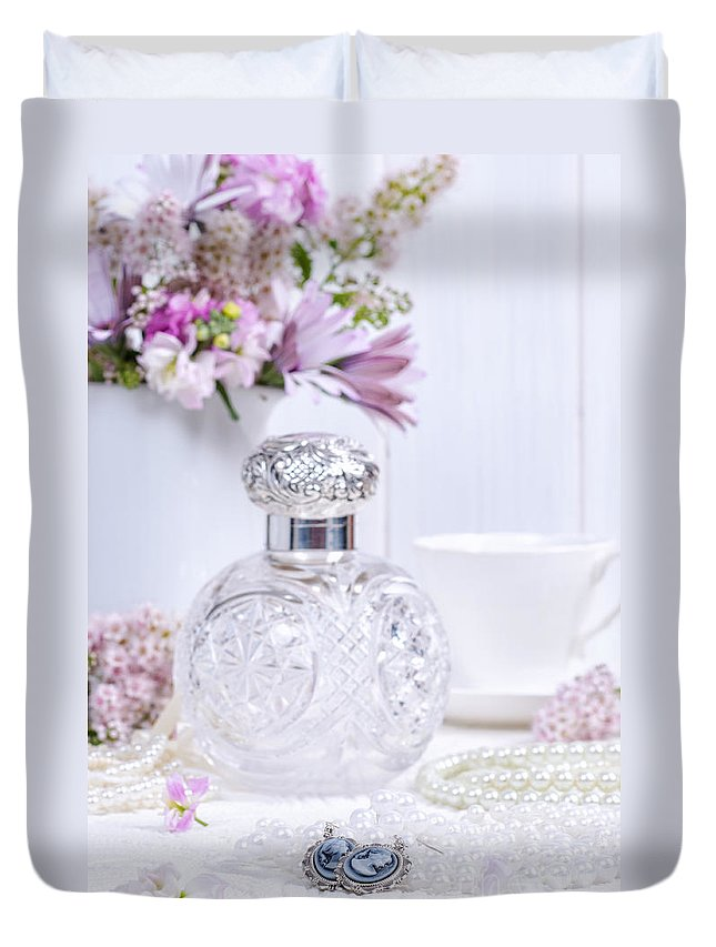Scent Duvet Cover featuring the photograph Cameo Earrings by Amanda Elwell