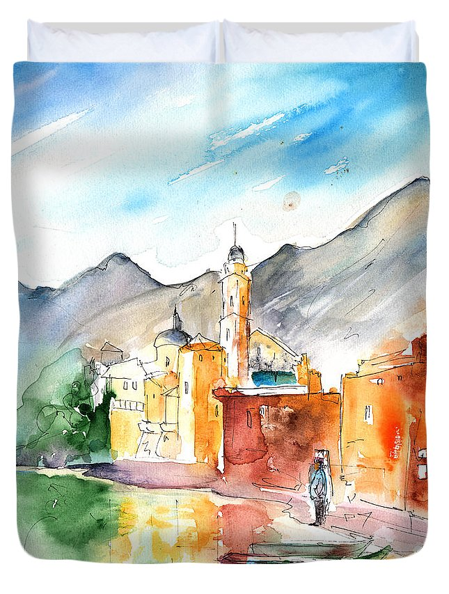Italy Duvet Cover featuring the painting Camogli In Italy 11 by Miki De Goodaboom