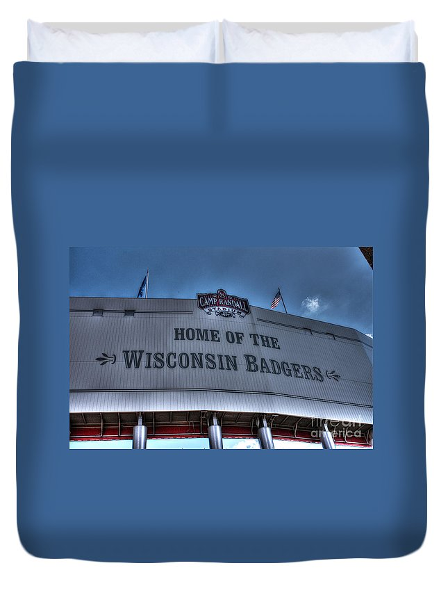 Camp Randall Duvet Cover featuring the photograph Camp Randall Stadium by Tommy Anderson