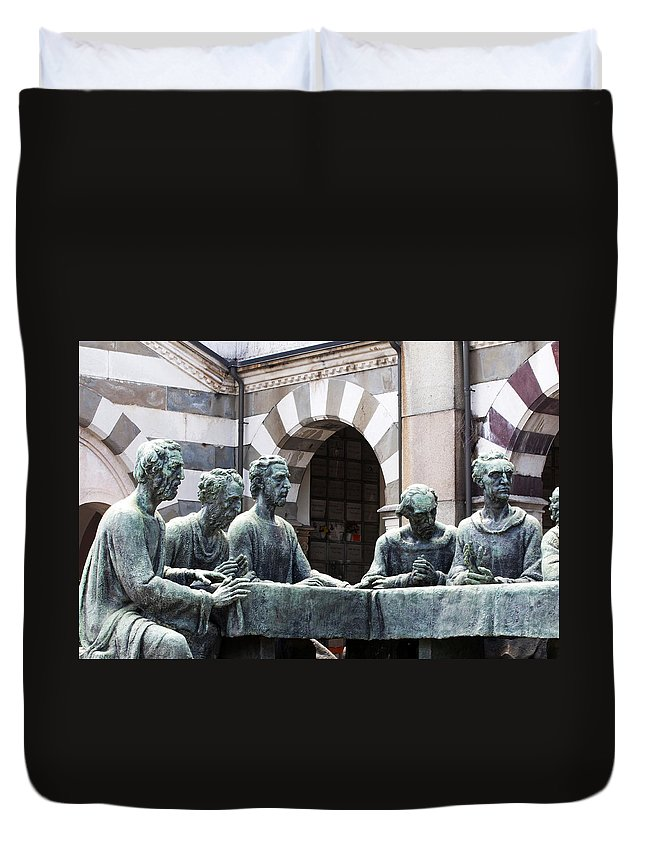 Horizontal Duvet Cover featuring the photograph Campari Grave Marker Detail IIi Disciples Last Supper by Sally Rockefeller