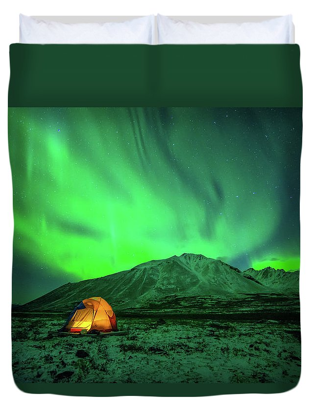 Camping Duvet Cover featuring the photograph Camping Under Northern Lights by Piriya Photography