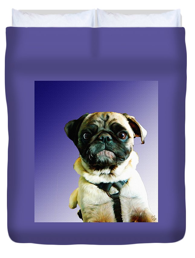 Pug Duvet Cover featuring the painting Can I Come Too by Shere Crossman
